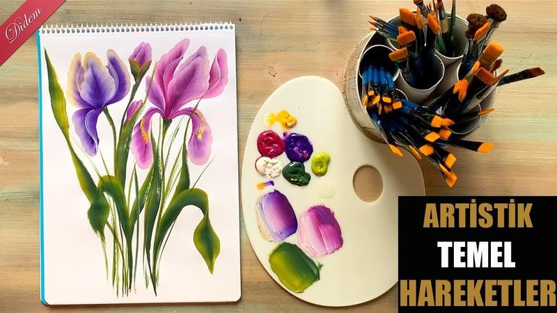 One Stroke Farklı Temel Hareketler ile Iris Çiçeği (Iris Flower)