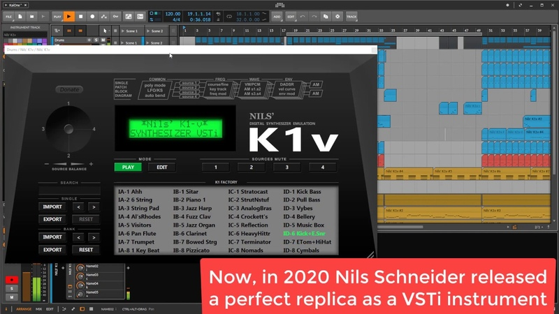 Kawai K1 as VSTi K1v Demo Song uses only K1v and Bitwig Studio mossifier Kite 1