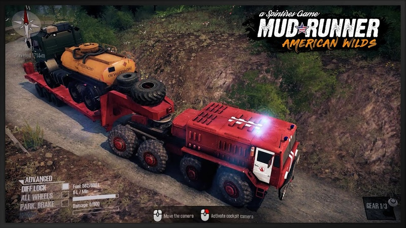 Red power truck MAZ 535 Fire Service v 2 0 tral Kamaz in big map Spintires Mudrunner