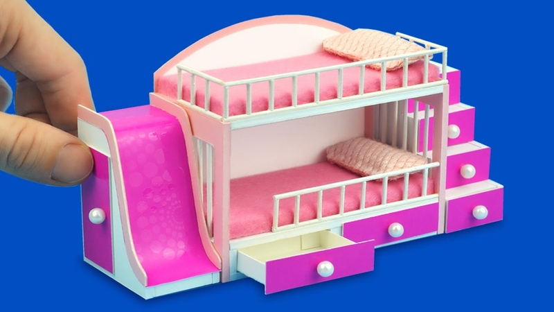 Miniature bunk bed for dollhouse using cardboard