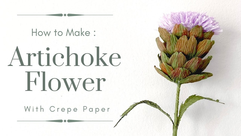 *Free Template* MAKING ARTICHOKE FLOWER with CREPE PAPER step to step tutorial
