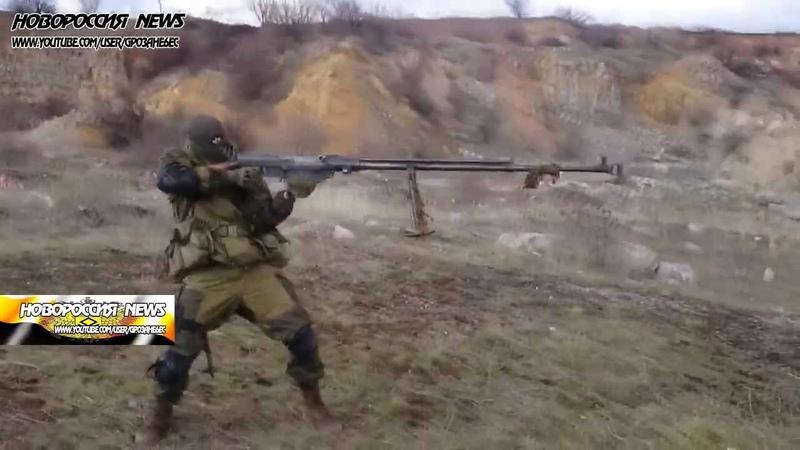 Русский терминатор с Донбасса на ходу стреляет из противотанкового ружья