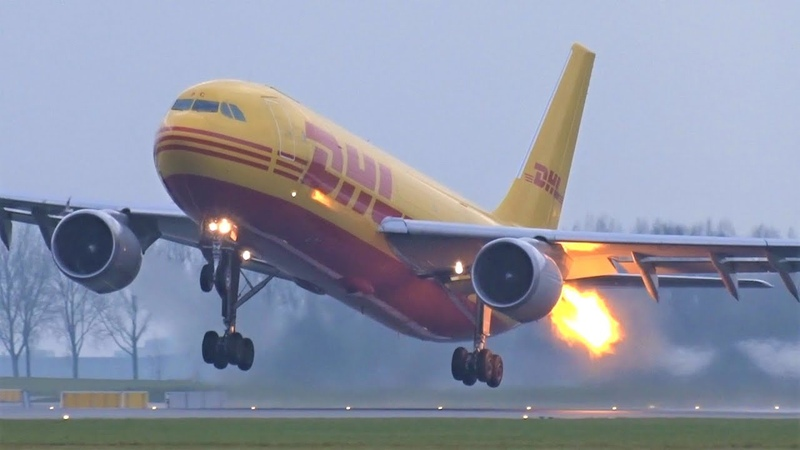 DHL A300 600F BIRDSTRIKE FLAMES From The Engine On Take off At Amsterdam Schiphol Airport